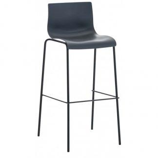 Barstol i kunststof og metal H100 cm - Sort/Grå