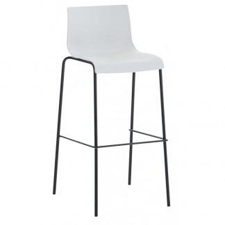 Barstol i kunststof og metal H100 cm - Sort/Hvid