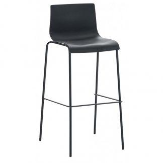 Barstol i kunststof og metal H100 cm - Sort/Sort