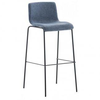 Barstol i polyester og metal H100 cm - Sort/Blå