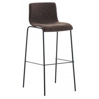 Barstol i polyester og metal H100 cm - Sort/Brun