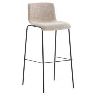 Barstol i polyester og metal H100 cm - Sort/Creme