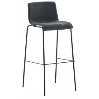 Barstol i polyester og metal H100 cm - Sort/Mørkegrå