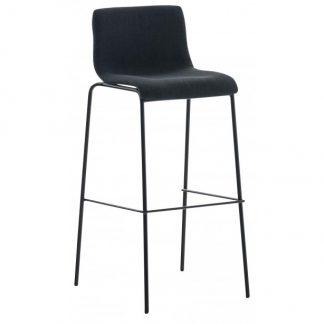 Barstol i polyester og metal H100 cm - Sort/Sort
