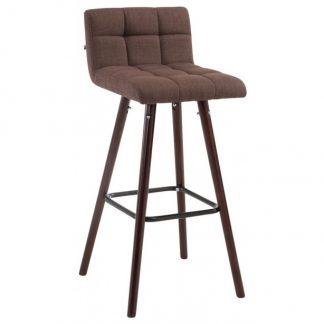 Barstol i polyester og træ H94 cm - Valnød/Brun