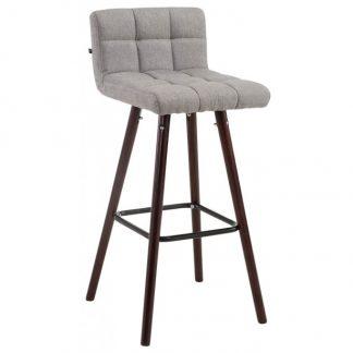 Barstol i polyester og træ H94 cm - Valnød/Grå