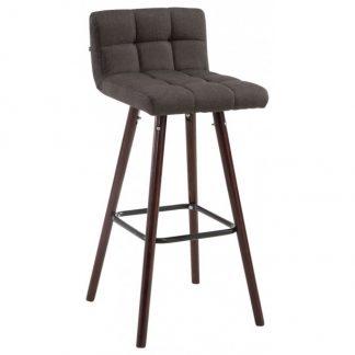 Barstol i polyester og træ H94 cm - Valnød/Mørkegrå
