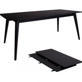 Copenhagen Spisebord med forlængerplader 195 - 285 x 90 cm - Sort
