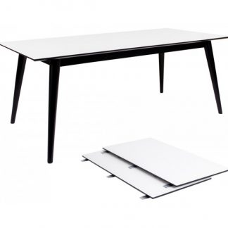 Copenhagen Spisebord med forlængerplader 195 - 285 x 90 cm - Sort/Hvid
