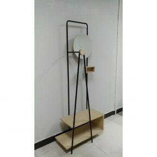 LAFORMA Nostalgic garderobestativ - natur/sort asketræsfinér/metal, m. rundt spejl og hylder