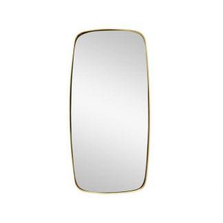 Spejl m/messing-ramme, firkantet grå