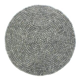 Kugletæppe i 100% uld - Lys grå