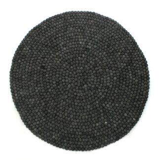 Kugletæppe tilbud: Rundt tæppe i uld - Mørkgrå