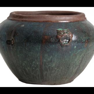 Amphora vase i keramik H48 cm x Ø70 cm - Antik sortgrøn