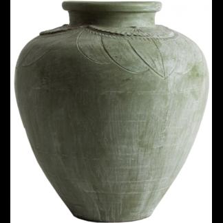Amphora vase i terracotta H78 cm x Ø73 cm - Antik grøn