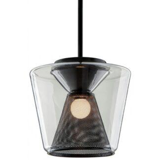 Berlin Loftlampe i glas og jern Ø32 cm 1 x 14W LED - Gun metal/Klar