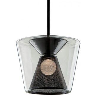 Berlin Loftlampe i glas og jern Ø40 cm 1 x 14W LED - Gun metal/Klar