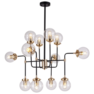 Boston loftlampe Ø99 cm 12 x E27 - Sort/Messing