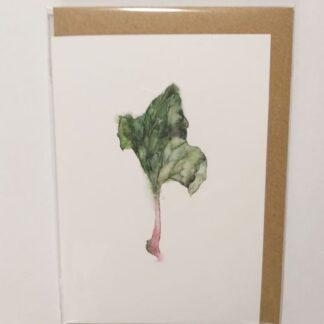 Kort med konvolut, rabarberblad