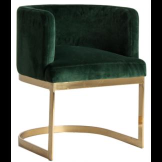 Spisebordsstol i velour og metal H77 cm - Messing/Grøn