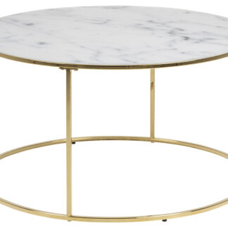 Bolton -A1 sofabord - hvid/guld glas/metal, rund (Ø80)