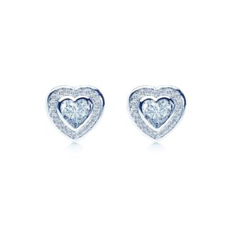 Loving bezel heart øreringe