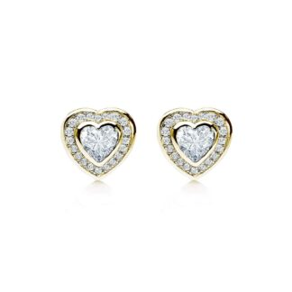 Loving bezel heart forgyldte øreringe