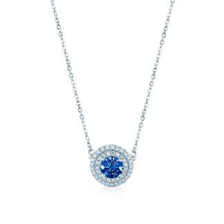 Oxford dobbelt halo safirblå halskæde
