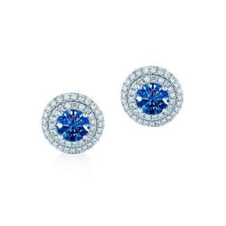 Oxford dobblelt halo safirblå øreringe