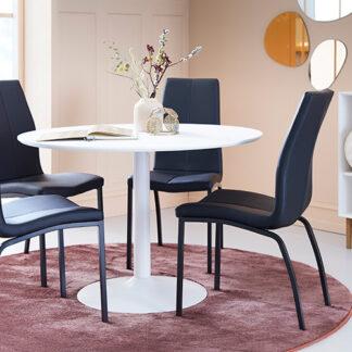 Taco spisebord og 4 sorte Asama spisebordsstole