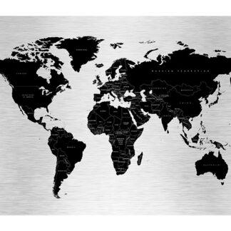 Verdenskort aluprint sølv-sort