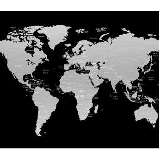 Verdenskort aluprint sort-sølv