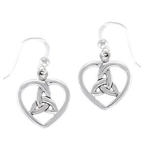 Øreringe Hjerte med Triquetra - Treenighedssymbolet - pr sæt
