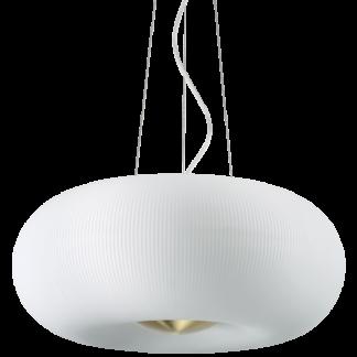 ARIZONA Loftlampe i glas og metal Ø52 cm 5 x GX53 - Satineret messing/Hvid