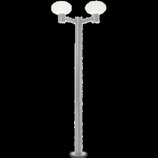 ARMONY Dobbelt Bedlampe i aluminium og plast H215 cm 2 x E27 - Grå/Hvid