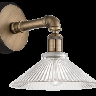 ASTRID Væglampe i metal og glas H24 cm 1 x E27 - Antik messing/Klar rillet