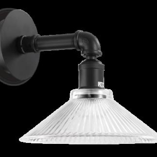 ASTRID Væglampe i metal og glas H24 cm 1 x E27 - Mat sort/Klar rillet