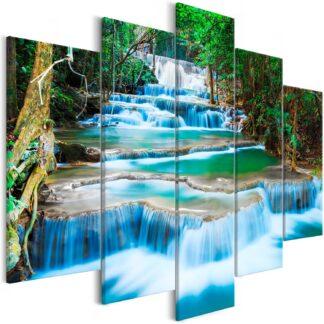 Artgeist billede - Waterfall in Kanchanaburi (5 Parts) Wide, på lærred 225x100