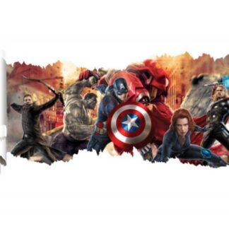 Avengers wallsticker. Sejt revet hul i væggen. 90x50cm