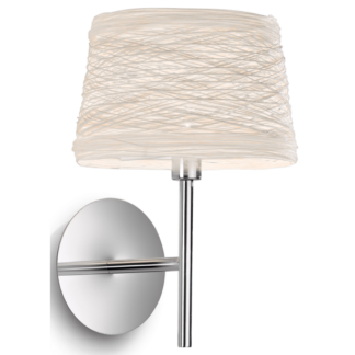 BASKET Væglampe i metal og tekstil H26 cm 1 x G9 - Krom/Beige