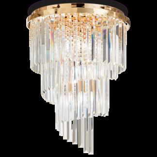CARLTON Loftlampe i glas og metal Ø50 cm 12 x E14 - Guld/Klar
