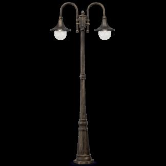 CIMA Bedlampe i aluminium og akryl H216 cm 2 x E27 - Antik sort/Antik guld