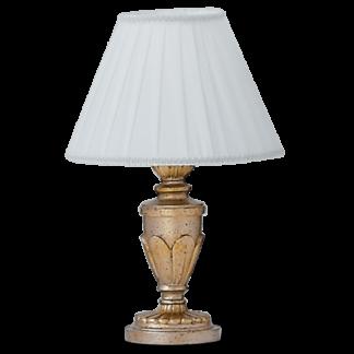 DORA Bordlampe i polyresin og tekstil H35 cm 1 x E14 - Hvid/Antik guld