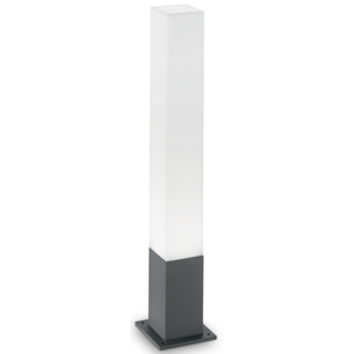 EDO Bedlampe i aluminium og polycarbonat Firkantet H79 cm 1 x GX53 - Antracit/Hvid