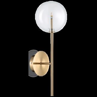 EQUINOXE Væglampe i metal og glas H30 cm 1 x G4 - Antik messing/Klar