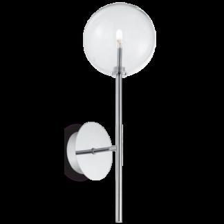 EQUINOXE Væglampe i metal og glas H30 cm 1 x G4 - Krom/Klar