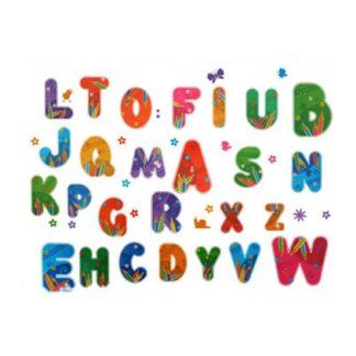 Flot wallsticker med et farverigt alfabet fra A til Z.