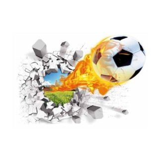 Fodbold wallsticker. Hul i væggen. 70x50cm.