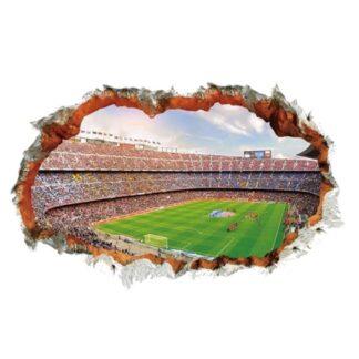 Fodboldstadion wallsticker. Hul i væggen - 3D effekt. 90x60cm