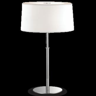 HILTON Bordlampe i metal og tekstil H49 cm 2 x E14 - Krom/Hvid